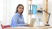 modelo : Young Woman Looking at Camera in Office