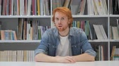 conservar : Silent, Silence Gesture by Man with Red Hairs Stock Footage