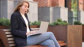 unexpected : Shocked Excited Business Woman Using Laptop, Sitting Outside Office