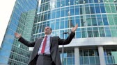 investor : Successful Middle Aged Businessman Excited and Happy Stock Footage