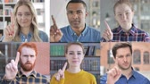separation : Collage of Young People Saying no With finger gesture Stock Footage