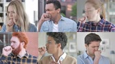espressioni facciali : Collage of Young People Coughing