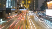életmód : Fast traffic lights streak in city at night, time lapse Stock mozgókép