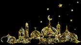 raya : Ramadan background with mosque, crescent moon and star background, looped and alpha. Stock Footage