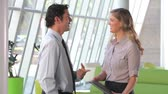 handshake : Over the shoulder view of businessman talking to female colleague in office before they shake hands. Stock Footage