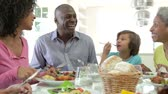 dolly : Multi Generation African American Family Eating Meal At Home