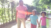 four people : African American Family Walking In Countryside Stock Footage
