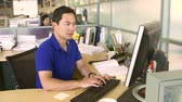 technology : Man Working At Computer In Modern Office Stock Footage