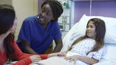 years : Mother And Daughter With Female Nurse in Hospital Room Stock Footage