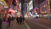 ônibus : Time-lapse Sequence Of Theatres At Night In Times Square NYC