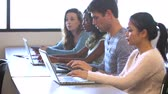 campus : University Students Using Digital Tablet And Laptop In Class Stock Footage