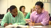 grade : Male High School Student With Teacher Discussing Textbook Stock Footage