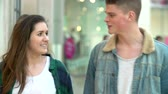 consumidor : Young Couple Shopping Mall In Mall Together Stock Footage