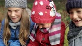 enevoado : Three Children Sitting Together In Winter Woodland Stock Footage
