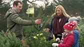 dolly : Slow Motion Shot Of Family Choosing Christmas Tree Together