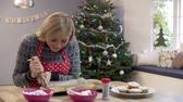 atlamacı : Woman Decorating Christmas Cookies In Kitchen Stok Video