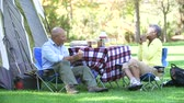 pesca : Senior Couple Enjoying Camping Holiday In Countryside Stock Footage