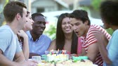 making a wish : Group Of Friends Celebrating Birthday Outdoors Together Stock Footage