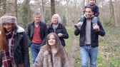 dolly : Multi Generation Family On Countryside Walk Stock Footage
