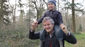 vnuk : Grandfather Carrying Grandson On Shoulders During Walk Dostupné videozáznamy