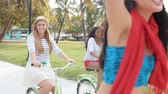 funky : Female Friends Having Fun On Bicycle Ride