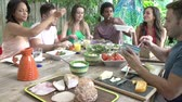 jedzenie : Group Of Friends Enjoying Meal Outdoors At Home Wideo