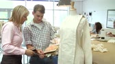 estudantes : College Students Studying Fashion And Design Stock Footage