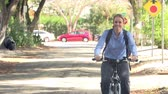 движение : Slow Motion Sequence Of Woman Cycling Along Street To Work