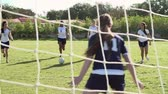 ponto : Slow Motion Sequence Of Female High School Soccer Team Match Stock Footage