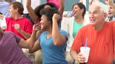 mão humana : Spectators Cheering At Outdoor Sports Event Stock Footage