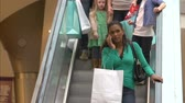 shopping bag sale : Shopper On Escalator In Shopping Mall Using Mobile Phone