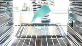 salmão : Woman Putting Salmon Fillets Into Oven To Cook
