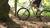 risque : Ralenti Shot Of Man Riding Mountain Bike Grâce Woods