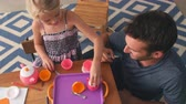 tendo : Father Having Tea Party With Daughter In Bedroom