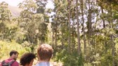 путешествие : Head height rear view of friends walking through a forest