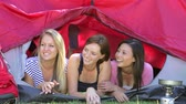 site : Three Young Women On Camping Holiday Together Vídeos