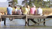 grandparents : Rear View Of Multi-Generation Family Sitting On Jetty Stock Footage