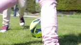pontapé : View Of Feet As Grandfather And Grandchildren Play Football Stock Footage