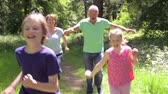 chemin : Les grands-parents Chasing Grandchildren Along Woodland chemin Vidéos Libres De Droits