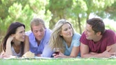 four people : Group Of Friends Enjoying Picnic Together
