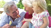 três pessoas : Grandparents And Granddaughter Enjoying Picnic Together
