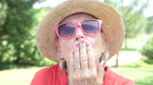piada : Senior Woman Expressing Different Emotions To Camera Stock Footage