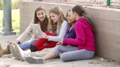 quatro pessoas : Group Of Young Girls Using Digital Tablet In Park