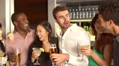 dolly : Group Of Friends Enjoying Drink In Bar Stock Footage