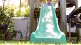 se divertindo : Two Boys Playing On Garden Slide Together Stock Footage