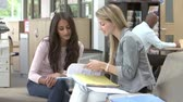 Öğrenciler : College Student Having Meeting With Tutor To Discuss Work Stok Video
