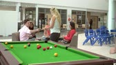 Öğrenciler : College Students Relaxing And Playing Pool Together Stok Video