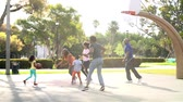 tendo : Multi Generation Family Playing Basketball In Slow Motion