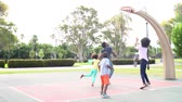 tendo : Family Playing Basketball In Slow Motion