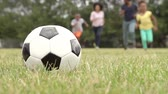 ponto : Slow Motion Sequence Of Family Playing Soccer In Park Stock Footage